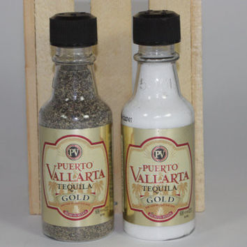 Salt & Pepper Shakers Upcycled from Puerto Vallarta Tequila Gold Mini Liquor Bottles