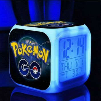 Pikachu Kids Alarm Clock  Go wekker digital Alarm clock Cartoon wake up light reveil table clock Led reloj despertadorKawaii Pokemon go  AT_89_9
