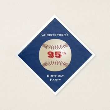 Baseball Paper Napkins, 95th Birthday Party Napkin