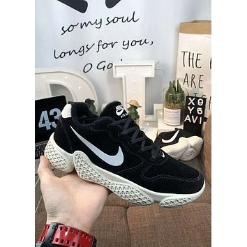 Nike Zoom new tide brand autumn and winter plus velvet warm men's sports shoes basketball shoes Black