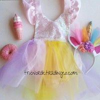 Baby Girl's Unicorn Sparkles Tutu Dress Romper 12-18 mo Great 1st Birthday Outfit Free Unicorn Rainbow Headband Toddler Sets Pink Satin Gifts for Girl