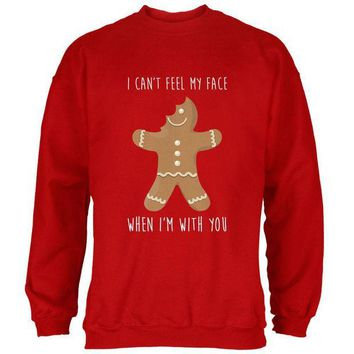 DCCKU3R Christmas Gingerbread Man Can't Feel My Face Mens Sweatshirt