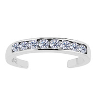 Sterling Silver Rhodium Plated Channel Set CZ Cuff Style Adjustable Toe Ring