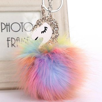 New 2017 Anime Horse Keychain Cute Metal Unicorn Key Chain Pendant Women Car Styling Fluffy Fur Pompom Keyring Bag Hang Trinkets