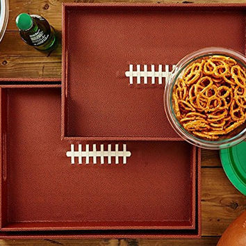 Two's Company Touchdown Football Large Serving Trays (Set/3)