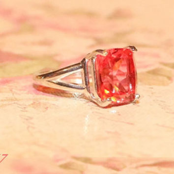 Padparadscha Ring, Sterling Silver Emerald Shaped Ring,  Ring With Papaya Quartz Gemstone