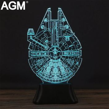 Star Wars Acrylic Table lamp 7 Colors Changing Desk Lamp 3D Lamp Novelty Led Night Light Millennium Falcon LED Light lampara Kid