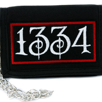 1334 Black Plague Tri-fold Wallet w/ Chain Alternative Clothing Death
