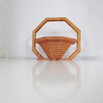 Vintage Basket Handcrafted Octagon Shaped Wooden Basket Retro Folding Basket Collapsible Basket Retro Trivet Country Kitchen Decor