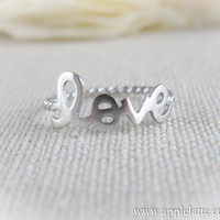 sterling silver love ring us size 5 - 9