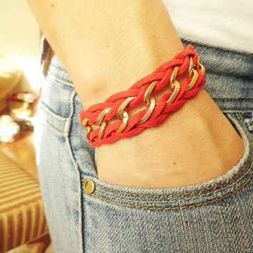 Braided chain bracelet in gray and red - suede chunky chain braided bohemian hippie hipster accessories best friend birthday gift