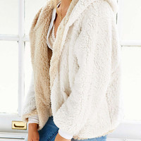 Beige Reversible Faux Fur Hooded Coat