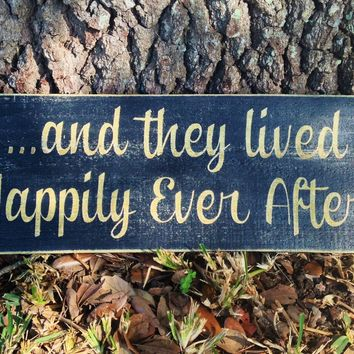 14x6 Happily Ever After Wood Sign
