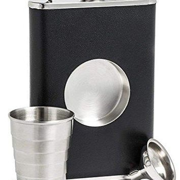 Stainless Steel Hip Flask ICASA 8 oz Shot Flask and Builtin Collapsible 2 Oz Shot Glass amp Flask Funnel Groomsmen Gifts