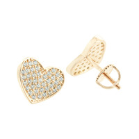 Womens Heart Shape Earrings 14K Rose Gold Finish Simulated Diamonds