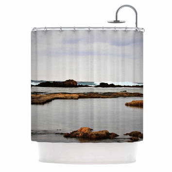 "Sylvia Coomes ""Dark Sea"" Blue Coastal Shower Curtain"