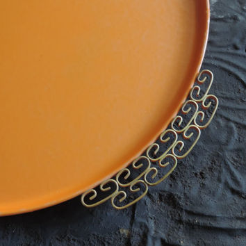 Mid Century Modern Cocktail Tray Vintage Kyes Moire Glaze Tangerine Serving Tray Hollywood Regency Decor