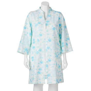 Miss Elaine Essentials French Terry Zip Duster Robe - Women's Plus Size, Size: