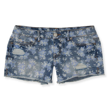 Rose Print Destroyed Midi Shorts