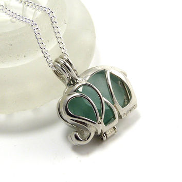Silver Elephant Charm Aquamarine Sea Glass Locket Necklace
