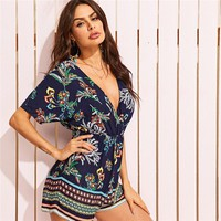 Navy Tribal and Botanical Print Wrap Bohemian Romper Women Batwing Sleeve Deep V Neck Rompers Folk Style Playsuit