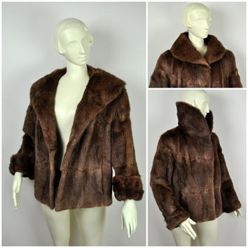 Vintage 1950s real Fur Musquash mink coney womens jacket ladies brown fawn coat