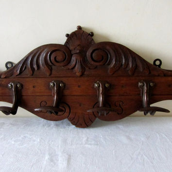 Antique French Solid Oak Carved Coat Rack