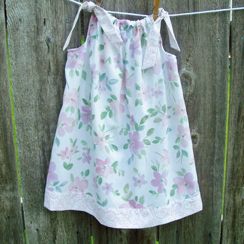 CLEARANCE - Pillowcase Dress - Made with Vintage Bed Linens - Soft Floral - Pink, White, Lavender - Size 3 - Ready to Ship - Recycled