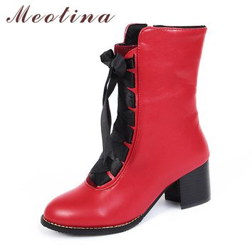 Meotina Women Boots Winter 2017 Block Heel Ladies Boots Lace up Mid Calf Boots Red Casual Ladies Shoes Big Size 12 45 46 Yellow