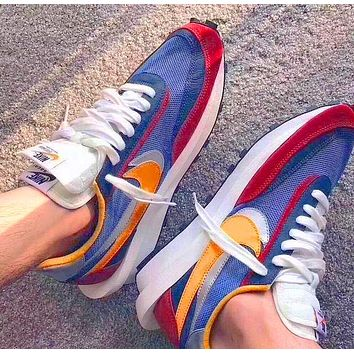 Sacai X Nike LVD WAFFLE joint deconstruction hit color running shoes Blue yellow