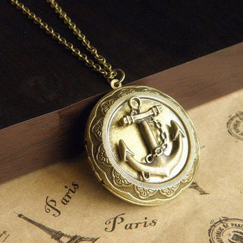 antique bronze anchor locket necklace jewelry