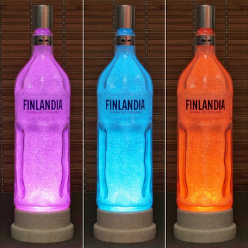 Finlandia Vodka 1 Liter LED Color Changing Remote Control Bottle Lamp Bar Light Man Cave
