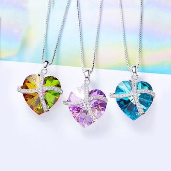 Vivid Oceanic Swarovski Elements Heart Shaped Necklace in 14K White Gold - Multiple Options Available
