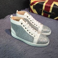 DCCK2 Sale Christian Louboutin CL Louis Strass Bling Blin White Grey Men's Women Flat Shoes Boots