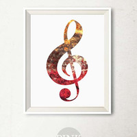 Music art print, Treble clef print, Music wall art, Printable art, Music wall decor, Wall art, Music Artwork Bedroom decor Music notes
