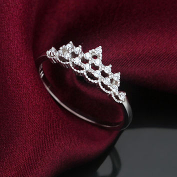 Cute little crown 925 sterling silver zircon ring,a perfect gift