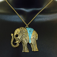 Fitbit Necklace for FitBit Flex Activity Tracker - REESE Gold with Light Blue Rhinestones Elephant Fitbit Necklace - FREE SHIPPING