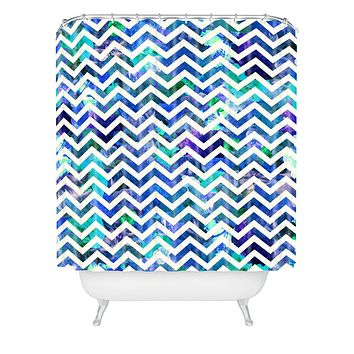 Bianca Green Floral Chevron Aqua Shower Curtain