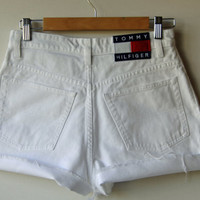 White Denim Cutoffs / Tommy Hilfiger/ Size 6 / Waist  28 - Waist 29 / Naturally Distressed / For Women