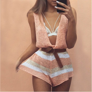 Pink Deep V-Neck Sleeveless Stripe Print Romper