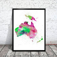 WATERCOLOR Australia MAP, Australia Map, Watercolor Painting. Watercolor poster. Handmade poster. Continent poster