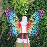 Custom Hand Painted Rainbow Swallowtail Butterfly inspired Wings