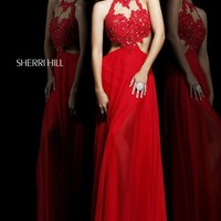 Cutout Jewel Neck Gown by Sherri Hill