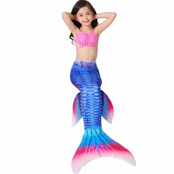 Mermaid Tails for Swimming Dress Mermaid Costumes Kids Swimmable Cosplay Costume Girl Clothing Children Clothes Mermaid Tail Set