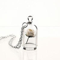 White Rose in a Bell Jar Terrarium Necklace / Pendant