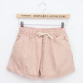 Hot Shorts INDJXND 2018 Brand New Summer Women Casual Loose Elastic Waist Cotton  Drawstring Slim  Solid Colors Women AT_43_3