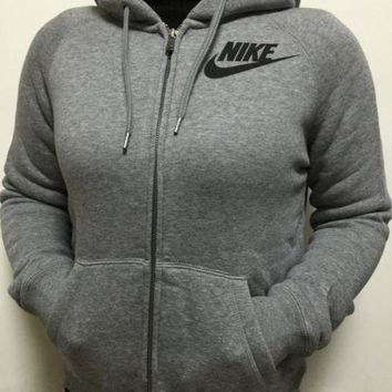 ESBON Nike Gray Zip Up Hoodie Jacket Sweater Sweatshirts