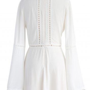Crochet Diary White Dress with Bell Sleeves - Dress - Retro, Indie and Unique Fashion