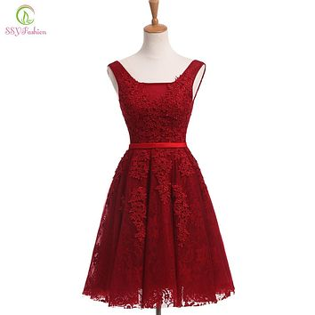 SSYFashion 2017 New The Bride Banquet Elegant Lace Cocktail Dress Wine Red V-neck Sleeveless Short Knee-length Formal Party Gown