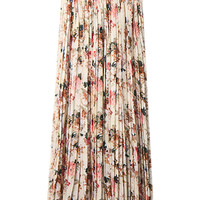 Beige Floral Print Pleated High Waist A-Line Maxi Skirt